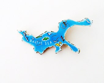 Baltic Sea Brooch - Lapel Pin / Upcycled 1960s Wood Puzzle Map Piece / Unique Wearable History Gift Idea / Timeless Gift Under 40