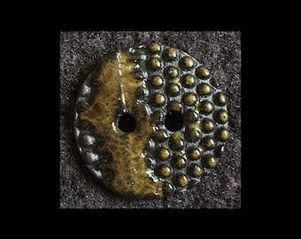 Handmade Ceramic Buttons: Amphibious Green on Black Basalt