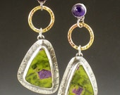 Serpentine Stichtite and Amethyst Earrings, green and purple, post earrings, dangle earrings, green gold purple, sterling silver, bohemian