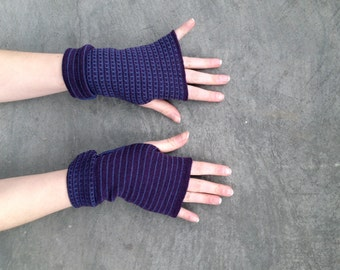 Arm Warmers Fingerless Gloves Late Blue and Purple Mittens Merino Wool Striped Gloves Two- Sided Mitaines en Laine Merinowolle Armstulpen