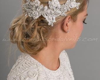 Wedding Hair Vine, Bridal Lace Headpiece, Lace Hair Vine, Rhinestone Hair Comb, Wedding Hair Accessory - Lizette