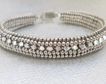 swarovski crystal bracelet silver beaded jewelry sterling silver bangle