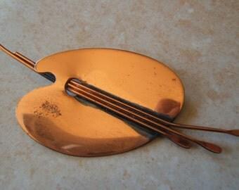 1950's Renior Copper Brooch - Palette Pin - SALE