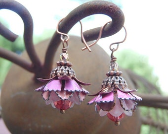 Flower Earrings with Pink Vintage Enameled Flowers, Crystal, and Antique Copper