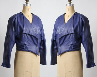 SALE- ITALIAN Leather Coat Purple 1980s Jacket