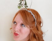 christmas headband adult, mistletoe headband, tacky sweater party, christmas hair accessories, mistletoe hair, silver christmas hair band,