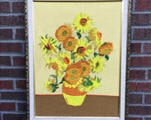Vintage c. 1970s Van Gogh Textile Art | Sunflowers | Yarn Crewel Embroidery Yellow Retro Wall Art Impressionist | vtg DECOR | FOUND by LB