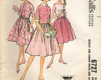 1960s McCall's 6727 Vintage Sewing Pattern Misses Full Skirt Dress, Party Dress, Cropped Jacket Size 10 Bust 31