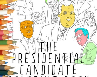 Presidential Candidate Adult Coloring Book, Instant Download, Printable Adult Coloring Book, Hillary Clinton, Donald Trump, Presidents