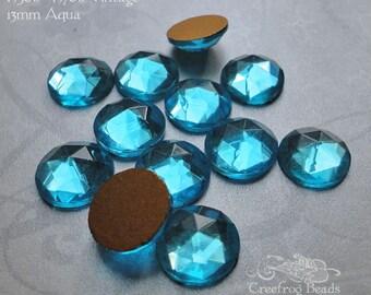 Vintage Cabochons - 13 mm Facet Aqua Blue -  6 West German Faceted Glass Stones