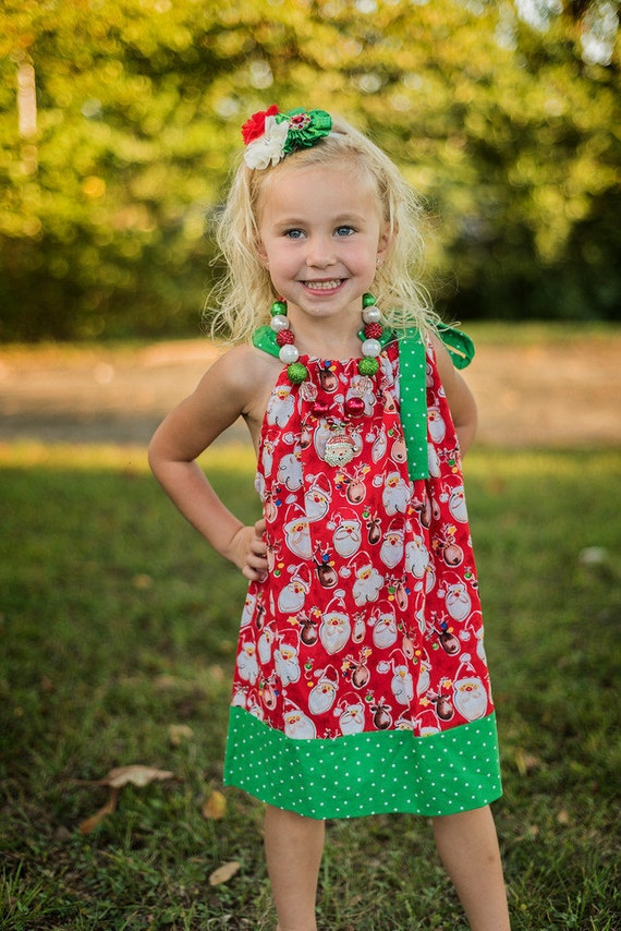 Christmas Pillowcase Dress, Santa Dress, Baby and Toddler Dress, Preteen Dress, Holiday Dress, Handcrafted, Polka Dot, XMAS
