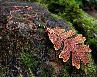 Large Fallen Copper Oak Leaf Necklace - REAL Oak Leaf