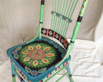 CHAIR - Hand Painted Antique Oak Chair, One Of Two, Charming And Bright