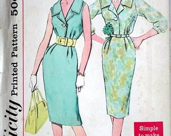 Vintage 60's Simplicity 2429 Sewing Pattern, Misses' One-Piece Dress, Simple to Make, Size 12, 32 Bust, Mad Men