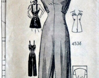 Vintage 1940's Anne Adams Mail Order 4536 Sewing Pattern,Misses' Playsuit or Overalls & Jacket, Rosie The Riveter WWII Era, Size 12, 30 Bust