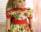 Autumn Flowers Doll Dress, American Made Girl Doll Clothes, 18 inch Doll Dress