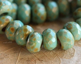 TURQUOISE ROLLER No. 1.. 6 Premium Picasso Czech Glass Large Hole Roller Beads 8x12mm (4346-6)