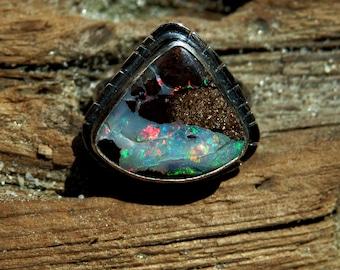 Australian boulder opal ring / opal ring / October birthstone ring / boulder opal jewelry / rainbow opal ring / boho opal jewelry