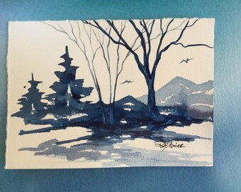 Prussian Landscape an Original Watercolor Painting 5x7 inches