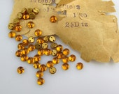 Vintage Glass Sew Ons, Tiny Amber Faceted Sew On Cabs, Flat Backs, Gold Sew On Bead Crafts, Supplies Costume Doll Beads Jewelry Making 36