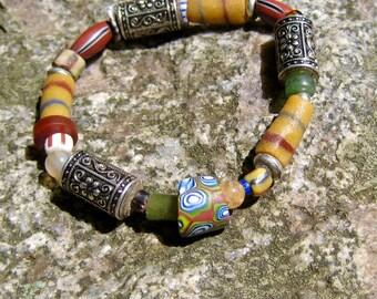 Trade Bead Bracelet Jewelry, Stretch Bracelet, Bead Gift Jewelry, Unique Bead Bracelet, African Trade Beads Bracelet, Tribal Jewelry Beaded
