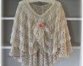 Bridal Cape Dolly Kei Crochet Cape  Mori Girl Shawl Lacey Poncho Shabby Victorian Bridal Shawl Wedding Shawl