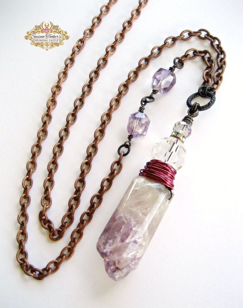 Raw Geode Amethyst Quartz Long Necklace Wire Wrap Crystal