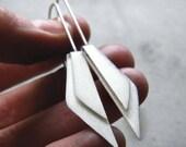 Folded Wings - sterling silver minimal earrings, dangle earrings, long earrings, textured earrings, scratched, made in Italy
