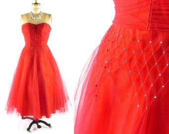 Vintage 50s Prom Dress // 1950s Prom Dress // 50s Formal Dress // RED Tulle Dress // RARE SIZE Large - 32 Inch Waist