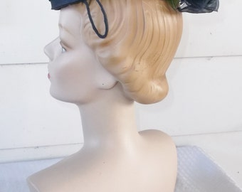 1950s Vintage Dark Blue Cocktail Hat with Back Flower Picket's Chattanooga