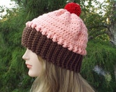 Pink Crochet Hat, Cupcake Beanie, Womens Hat, Cupcake Hat with Cherry Pom Pom, Winter Hat