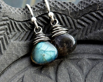 Drop Earrings, Labradorite Earrings, Gemstone Earrings, Sterling Silver, Midnight Blue, Dangle Earrings, Stormy Weather, PoleStar