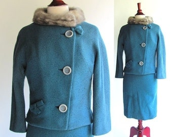60's Wool and Fur Suit, Mad Men Style Blue Wool with Fur collar, Vintage 1960s Woman's Suit, Jackie O Spring Suit, Small size 4 or 6