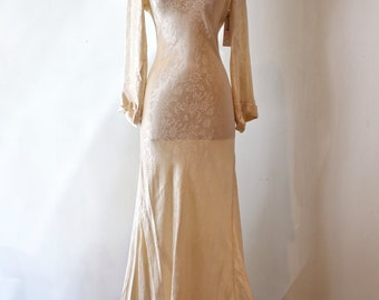 Vintage 1930's Bias Cut Satin Crepe Wedding Gown ~ Vintage 30s Wedding Gown Floral Print Cowl Neck with Train