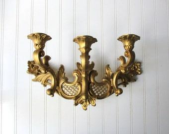 Vintage Dart Ind. wall sconce 3 arm candle light holder gold tone plastic Hollywood Regency BoHo