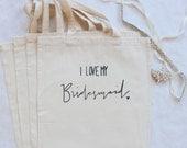 Bridesmaid Gift Tote Bridal Party Bag Wedding Party Thank you Gifts Be My Bridesmaid I Love My Bridemsaid