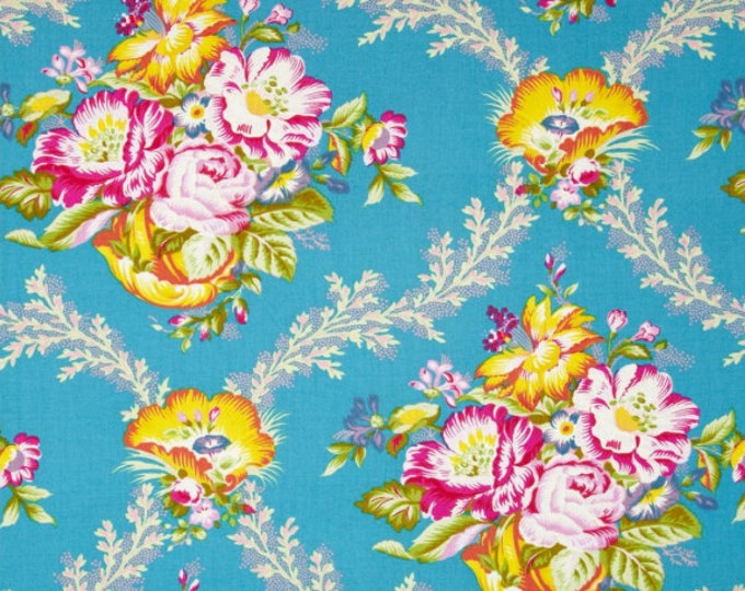 SALE 0.8 yard - Good Company by Jennifer Paganelli - Vickie JP089 Peacock blue
