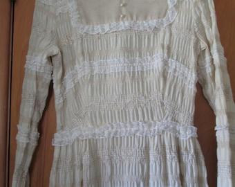 Dress Vintage Long Cotton Victorian Look Lace Betty Lane Original