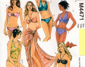 McCall's UNCUT Suit Yourself Pattern M4471 - Misses Two-Piece Bathing Suits and Pareo - 12-18