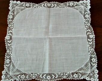 White Lace Hankie, Vintage 1930s, bride wedding something old, pocket stuffer
