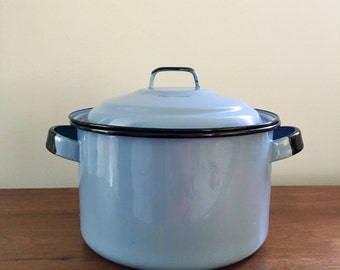 Vintage baby blue and black enamel stockpot with lid