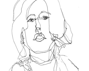 Art  Pen and Ink Drawing Woman Portrait Black and White  Print