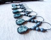SEMI-ANNUAL SALE Raw aquamarine earrings | Dangle earrings | Aquamarine crystal earrings | Chandelier earrings | Rough aquamarine earrings
