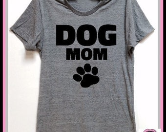 DOG MOM. UNISEX Tri Blend Track T-shirts hand print. animal lovers. dog shirt. cat shirt. rescue shirt. Dog or Cat Lovers Gift. Adopt!