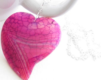 Heart Shaped Necklace, Pink & Blue Agate Pendant, Valentine's Jewelry