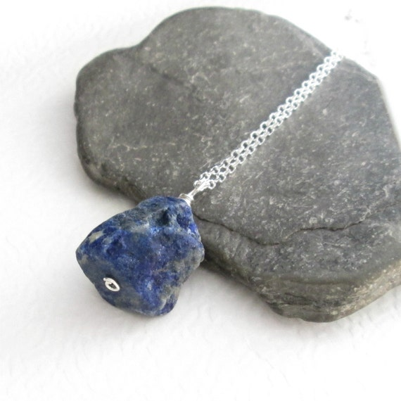 Raw Lapis Lazuli Pendant Necklace, Cobalt Blue Stone Jewelry