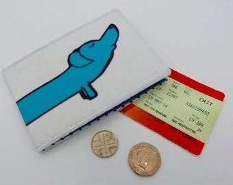 Oyster card holder, bus pass holder, travel card holder, wallet. Sausage dog print. Dachshund.Card wallet, Oyster card wallet, card holder.