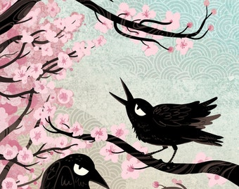 Spring Crows 12x18 art poster