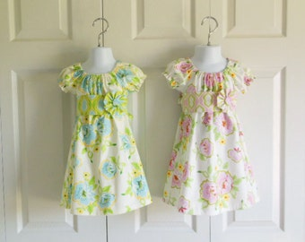 Girls Modern Peasant Dress with Sash and Flower Clip - 3 mos to size 10 - Church Flowers in Blue or Pink - Nicey Jane Collection