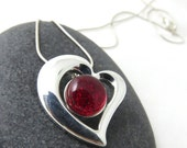 All the Feels Heart Necklace -Candy Red Heart - Fused Glass and Silver Heart